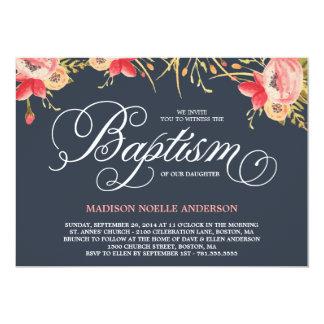 Invitación floral del bautismo del vintage el | invitación 12,7 x 17,8 cm