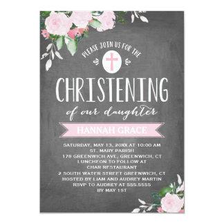 Invitación floral del bautizo de la pizarra el |