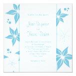 Invitación floral del boda - azul y blanco invitación 13,3 cm x 13,3cm