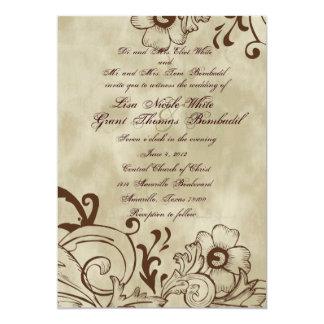 Invitación floral del boda de Brown del vintage