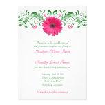 Invitación floral del boda de Gerber del verde ros