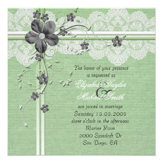 Invitación floral del boda de la arpillera del cor