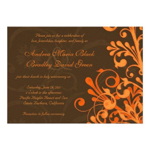 Invitación floral del boda de la caída del naranja