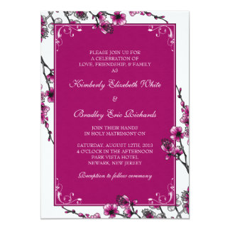 Invitación floral del boda de la flor de cerezo
