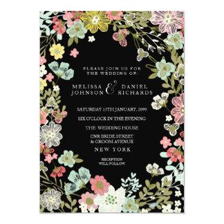 Invitación floral del boda de la frontera del