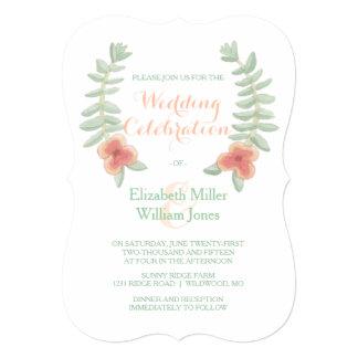 Invitación floral del boda de la guirnalda invitación 12,7 x 17,8 cm
