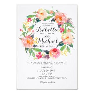 Invitación floral del boda de la guirnalda de la