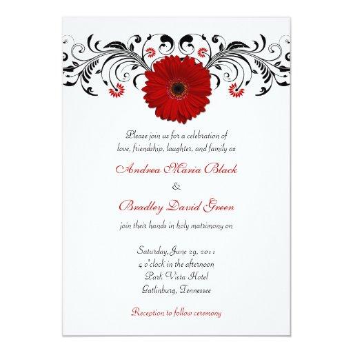 Invitación floral del boda de la margarita roja invitación 12,7 x 17,8 cm