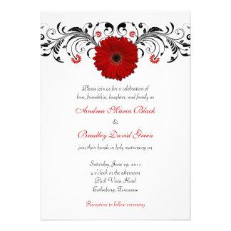 Invitación floral del boda de la margarita roja de