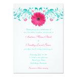 Invitación floral del boda de la margarita rosada