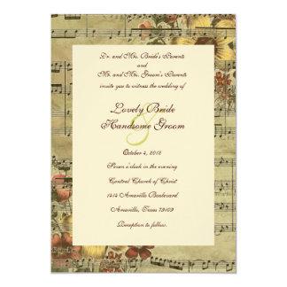 Invitación floral del boda de la música del otoño