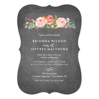 Invitación floral del boda de la pizarra de la