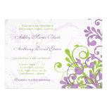 Invitación floral del boda de la verde lima púrpur