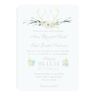 Invitación floral del boda de las astas