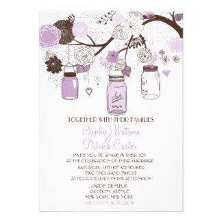 Invitación floral del boda de los tarros de albañi