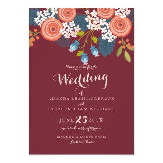 Invitación floral del boda de Marsala del jardín