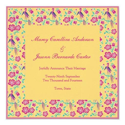 Invitación floral del boda del amarillo del batik