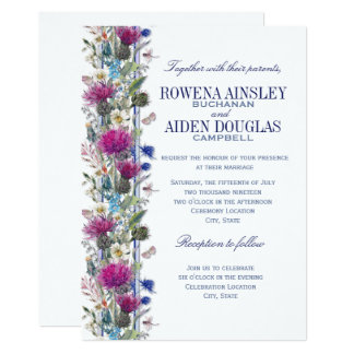 Invitación floral del boda del cardo escocés
