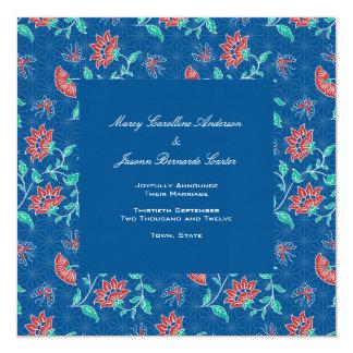 Invitación floral del boda del cuadrado del batik