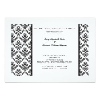 Invitación floral del boda del damasco