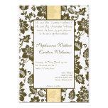 Invitación floral del boda del damasco de Brown/de Invitación 12,7 X 17,8 Cm