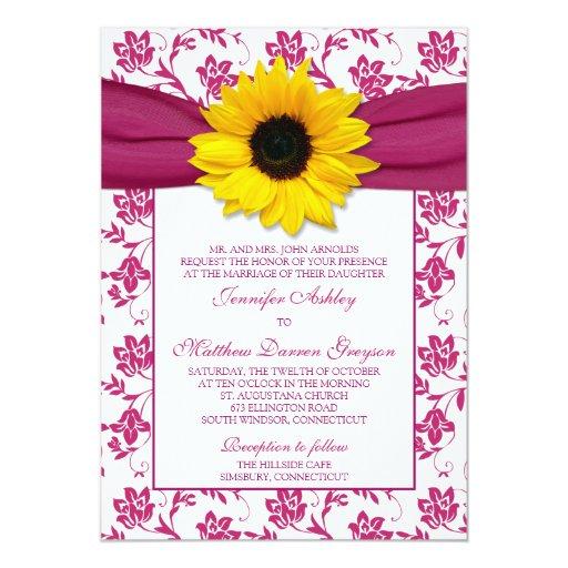 Invitación floral del boda del damasco rosado del