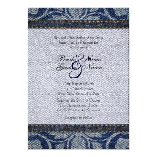 Invitación floral del boda del dril de algodón del invitación 12,7 x 17,8 cm