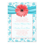 Invitación floral del boda del Gerbera de la