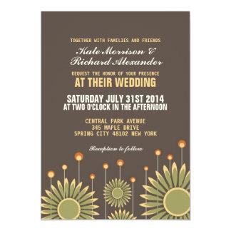 Invitación floral del boda del girasol del vintage