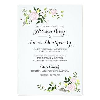 Invitación floral del boda del jardín - blanco
