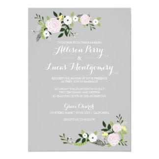 Invitación floral del boda del jardín - gris