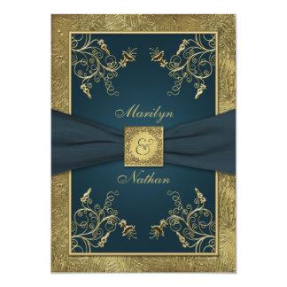 Invitación floral del boda del monograma del invitación 12,7 x 17,8 cm