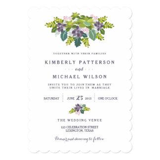 Invitación floral del boda del ramo II suculento Invitación 12,7 X 17,8 Cm