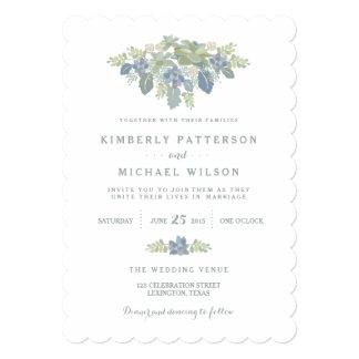 Invitación floral del boda del ramo suculento