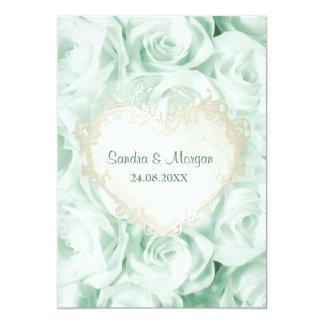 Invitación floral del boda del rosa de verde menta