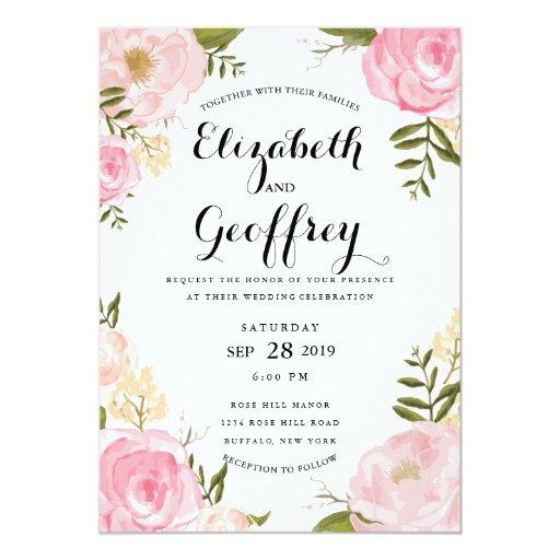 Invitación floral del boda del rosa moderno del
