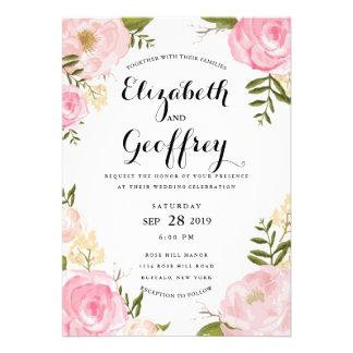 Invitación floral del boda del rosa moderno del vi