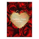 Invitación floral del boda del rosa rojo