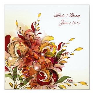 Invitación floral del boda del verano rojo invitación 13,3 cm x 13,3cm