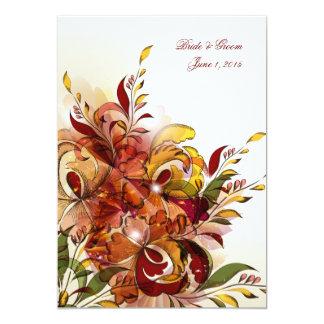 Invitación floral del boda del verano rojo invitación 12,7 x 17,8 cm