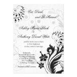 Invitación floral del boda del vintage blanco y ne