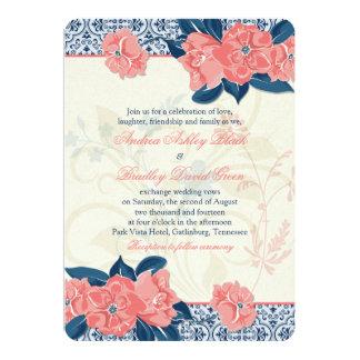 Invitación floral del boda del vintage coralino de