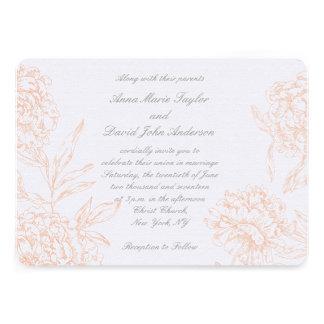 Invitación floral del boda del vintage gris corali