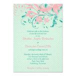 Invitación floral del boda del vintage rosado del