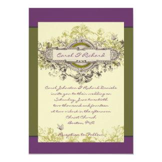 Invitación floral del boda del vintage verde