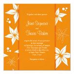 Invitación floral del boda - naranja y blanco invitación 13,3 cm x 13,3cm