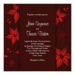Invitación floral del boda - rojo invitación 13,3 cm x 13,3cm