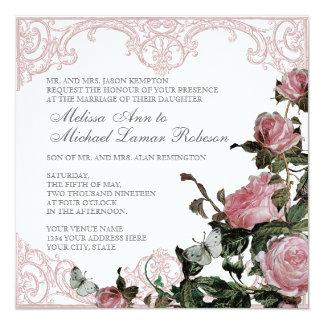 Invitación floral del boda - vintage subió