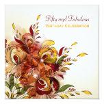 Invitación floral del cumpleaños del verano rojo invitación 13,3 cm x 13,3cm