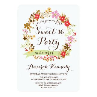 Invitación floral del dulce dieciséis de la